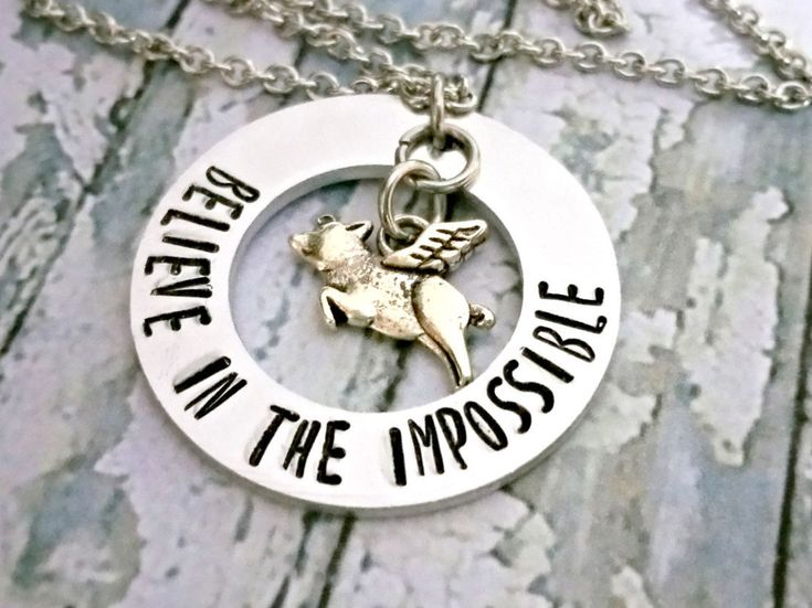 When Pigs Fly* Believe In* Believe* Flying Pig* Personalized Jewelry* Pig With Wings* Pig Necklace* Quirky Gifts* Quirky Necklace* Pig Charm - pinned by pin4etsy.com