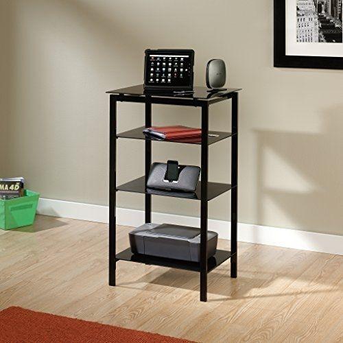 Multi Purpose Furniture Stand 4 Safety Tempered Glass Shelves Steel Frame Black  #Sauder #Modern