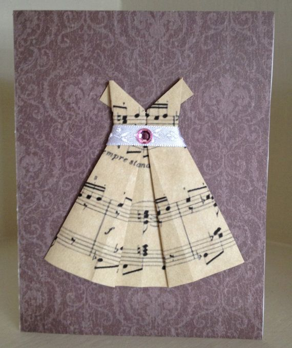 Hey, I found this really awesome Etsy listing at https://www.etsy.com/listing/96178587/4-blank-cards-with-origami-sheet-music