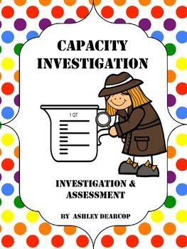 Help your students know and understand capacity and equivalent units through this investigative activity. Students will estimate and test how many cups are in a gallon, half gallon, quart, and pint.  Assessment activity and poster with strategy to remember equivalent units included!