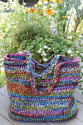 °★°★° crocheted bag made from yarn scraps.