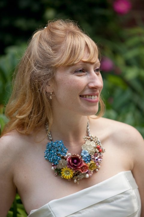 A bride wearing one of my cluster necklaces. raquelcastillo.etsy.com