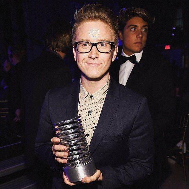 """won Best Web Personality last night at the #Webbys! thanks to everyone who voted!! as is tradition for @thewebbyawards winners can only give five word speeches on stage... mine was """"monkey-covering-eyes-emoji thanks!""""  by tyleroakley"""