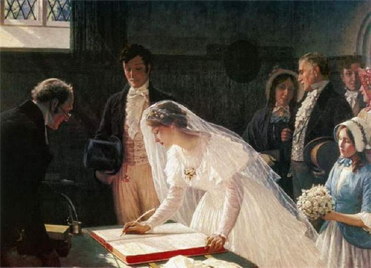 Wedding painting. Edmund Blair Leighton - Signing the Register. Look at that stunning light on her wedding gown and the shimmer of her ring!
