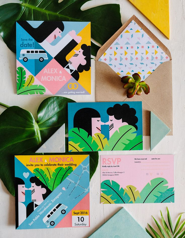 Playful, colorful wedding invitation