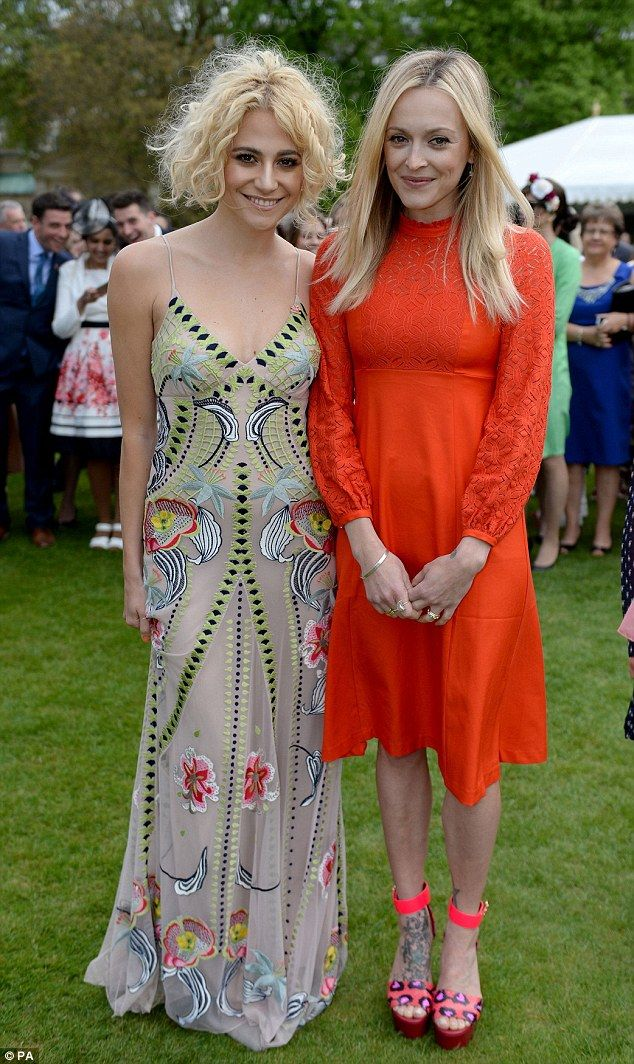 Beaming: Pixie Lott and Fearne Cotton led a roll call of stars at a Buckingham Palace garden party to celebrate the 40th anniversary of the Prince's Trust on Tuesday