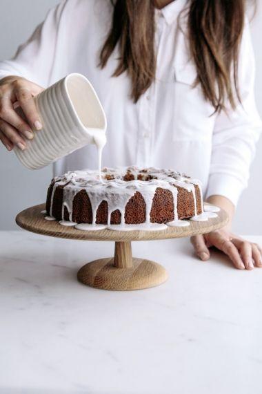 citrus vanilla olive oil spelt cake with rose water glaze