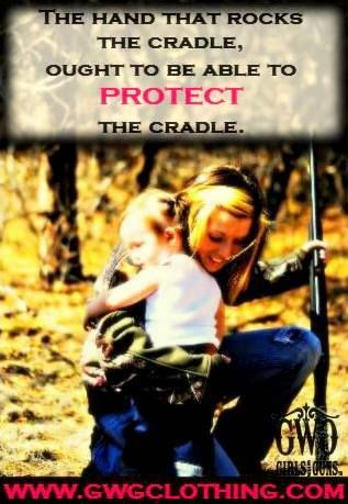 The hand that rocks the cradle, ought to be able to protect the cradle. #mama #girls #guns #babies #cradle #family #love #camo  www.gwgclothing.com