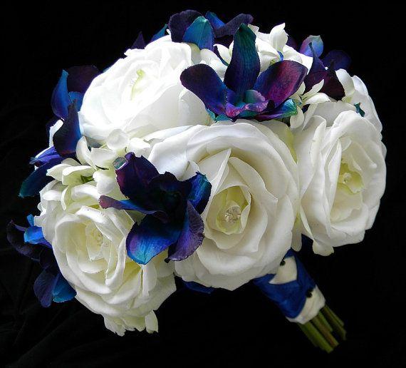 Silk Garden Rose and Blue/Violet Orchid Bridal by BlueLilyBridal, $155.00