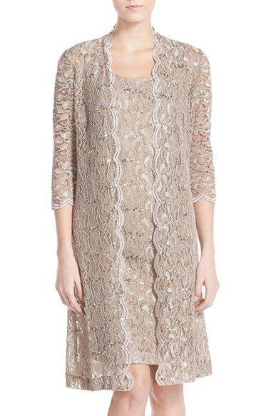 Womens Alex Evenings Sequin Lace Sheath Dress with Jacket Size 8 - Beige $199.00 AT vintagedancer.com