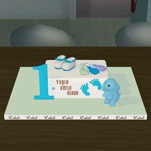 1 yaş butik doğum günü pastası, özel tasarım çocuk pastaları, icaked 1 yas  butik pasta, ankara butik pasta