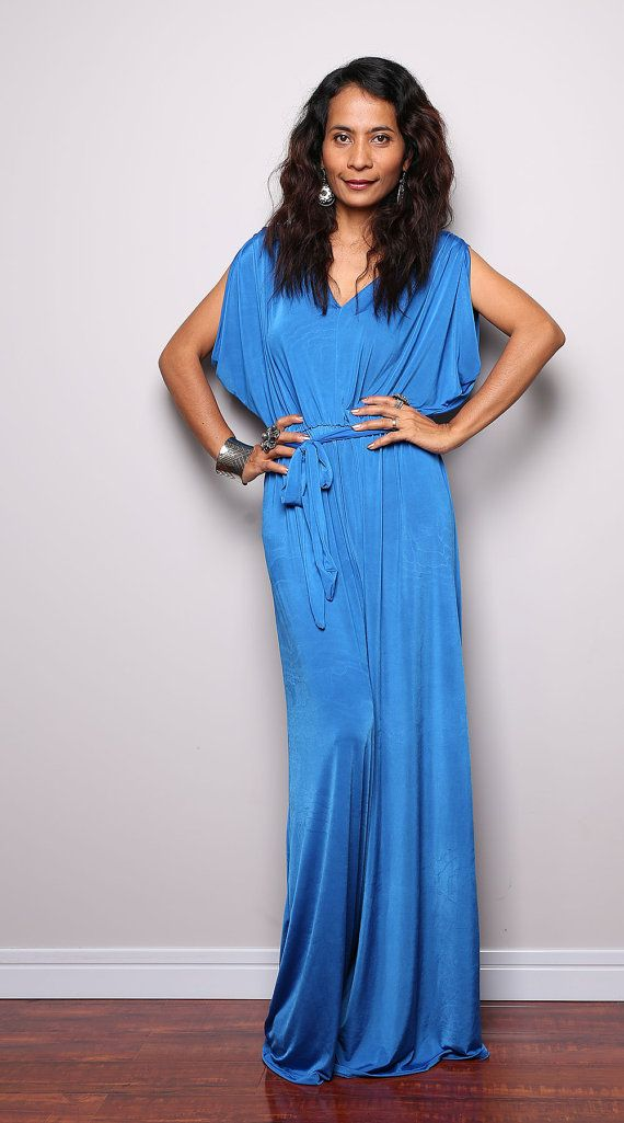 Blue Jumpsuit  Blue Jumper Maxi Dress with Kimono Top  by Nuichan, $58.00