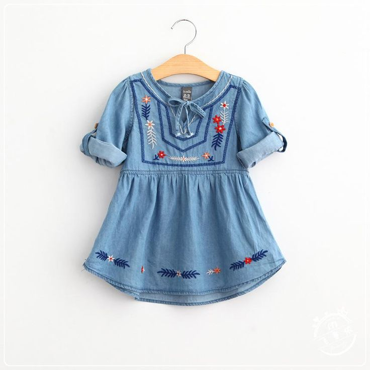 Wholesale cheap girls three quarter sleeve dress online, brand - Find best autumn new children denim embroidered dress national style girls three quarter sleeve cowboy dress kids jeans princes dress a8921 at discount prices from Chinese girl's dresses supplier - summervivi on DHgate.com.