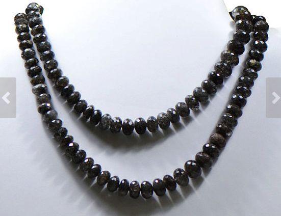 Black Rutile Quartz Gemstone Beads