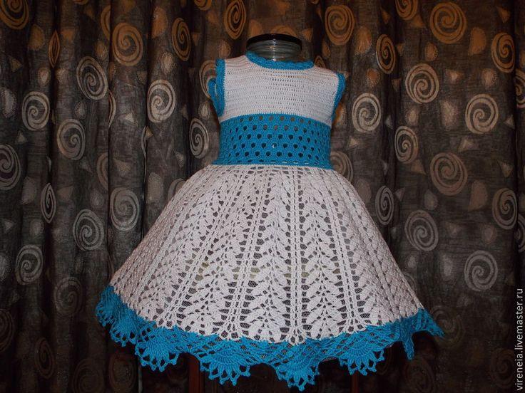 Купить Платье для юной модницы - белый, в полоску, ажурное платье, для девочки, малышам