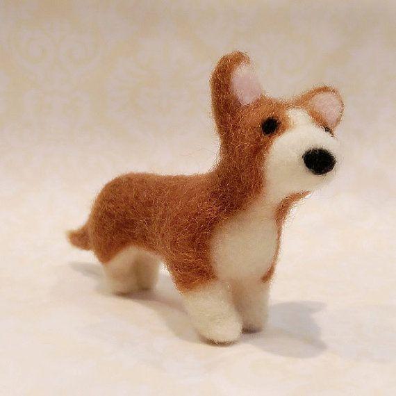Needle Felted Corgi Felted Corgi Puppy by DesignedbyAbble on Etsy