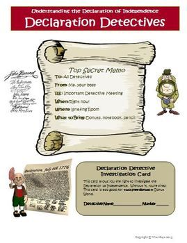 Declaration of Independence Detectives Creative Activity. JUST UPDATED! $