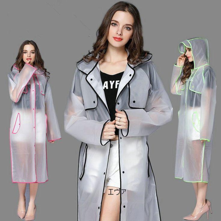 EVA Fashion Transparent Raincoat  poncho Women Men waterproof Long  Rain Coat Ponchos Jacket Chubasqueros Impermeables Mujer
