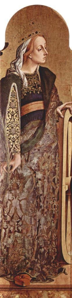 Carlo Crivelli.  Altarpolyptychon von San Francesco in Montefiore dell' Aso, linke äußere Tafel: Hl. Katharina von Alexandrien. Um 1470, Tempera auf Holz, 174 × 54 cm. Montefiore dell' Aso, Santa Lucia.  Der Altar wurde im 19. Jahrhundert getrennt, die Tafeln befinden sich heute in verschiedenen Museen.  Italien. Renaissance.  KO 02716