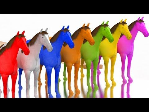 Learn Colors With 3D Horse Race Color Water Sliders For Kids Toddlers Children Babies - YouTube