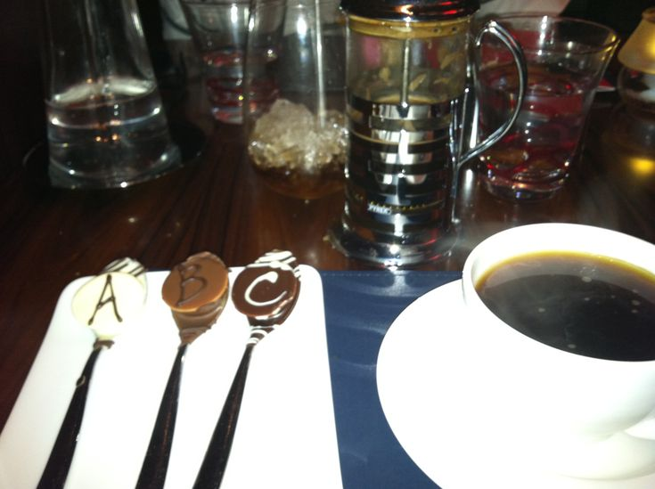 French Press Coffee served with Chocolate Spoons - A = Ammeretto, B = Baileys, C = Chamborg (each containing a shot within the chocolate) - intended to be dissolved in the coffee.  Yum!!  Gordon Ramsay Steak, Paris Hotel, Las Vegas
