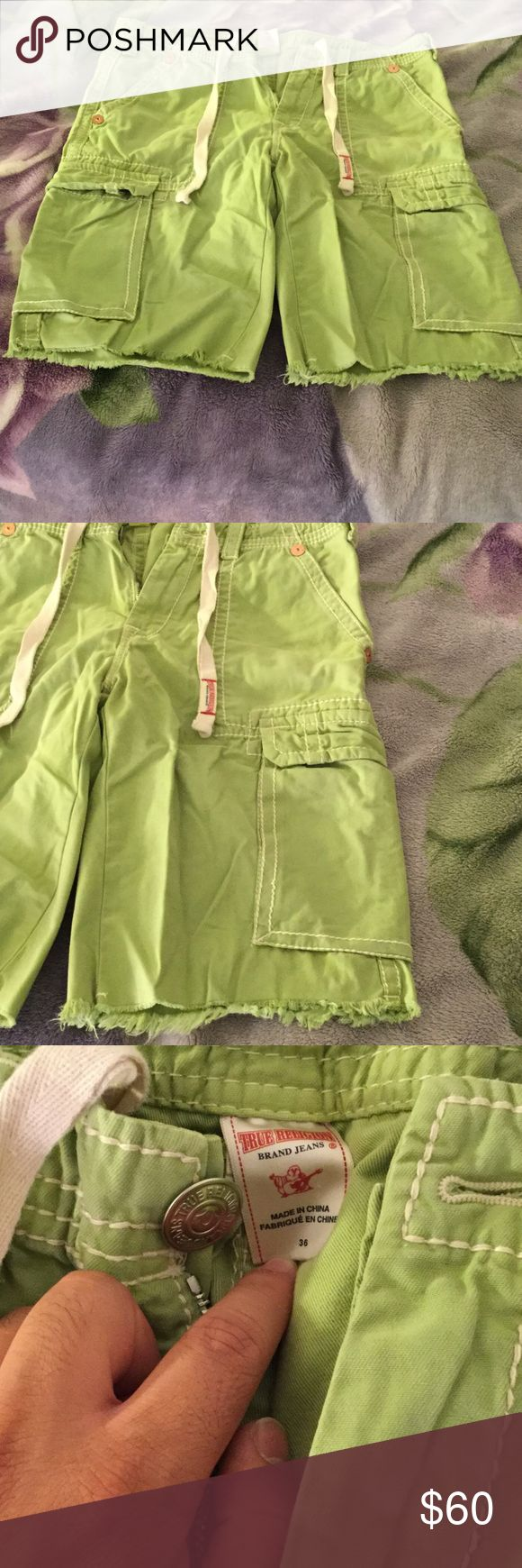 Beautiful True Religion shorts in excellent state! Gorgeous lime green shorts in excellent condition, size 36 in Waist. They hang right below knee area as seen on one of the pictures. Very soft and comfortable fit. Been worn only 3-4 times. Still looks and feels brand new. Color is lime green. True Religion Shorts Cargo