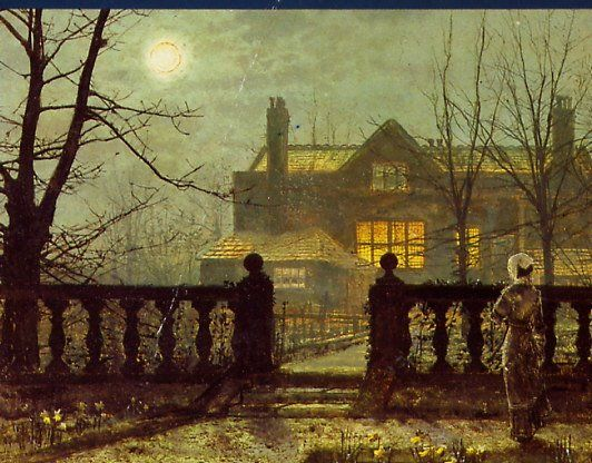 "John Atkinson Grimshaw - ""Lady in a Garden by Moonlight"" - such a beautiful and mysterious painting!"