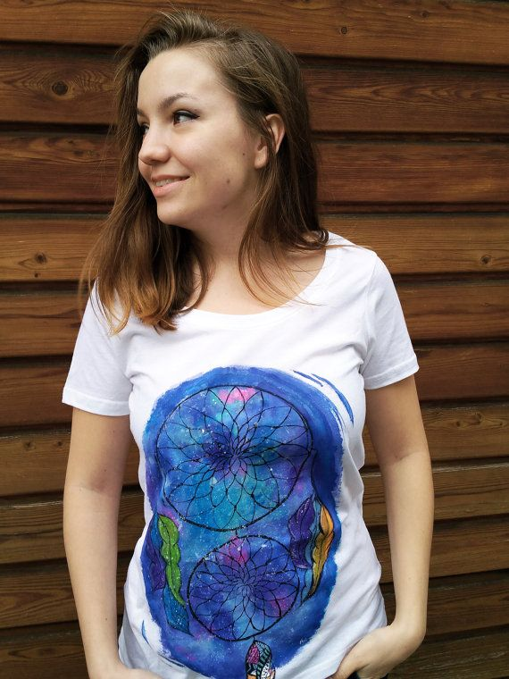 White T shirt Hand painted t shirt by MagicMintHandmade on Etsy