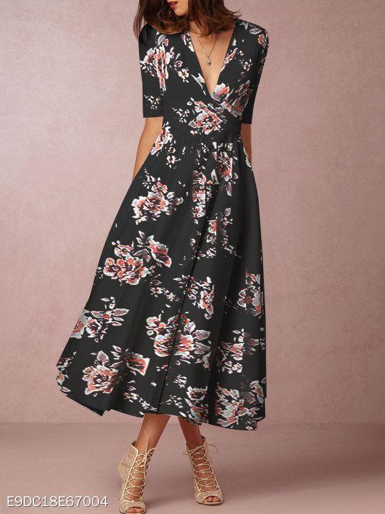 d712b5f95e02b4 Surplice Belt Empire Line Printed Maxi Dress  berrylook  winter  fall   fashion  trends  styles  winter  clothes  fashionista