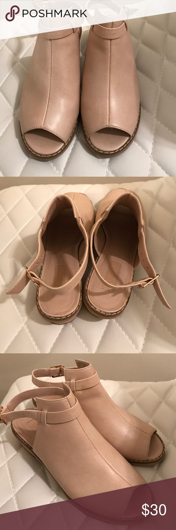 NUDE TOPSHOP SHOES Cute nude topshop shoes! Barely worn; great for casual or formal wear! Topshop Shoes Platforms
