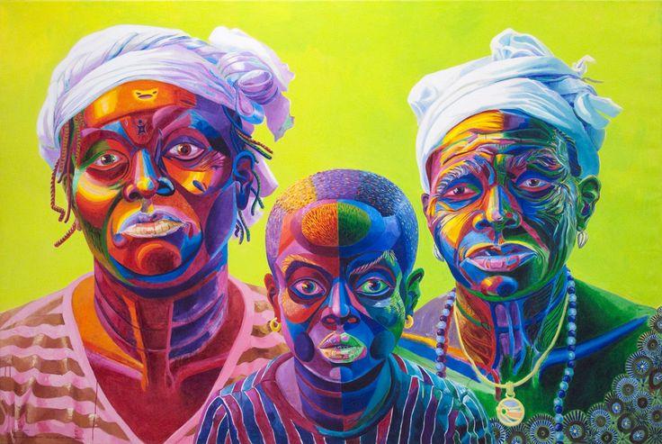 Voodoo Women (Three Generations of Mami Wata Voodoo Women: Adjovi, Ayaba and Napa Gbagassi), a painting by Teemu Mäki