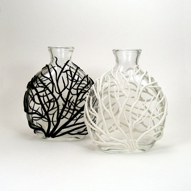 Pair of Black & White Clay Sea Fan Glass Vases - Tidal Surge / Ocean, Coral, Tidal, Home Decor, Bud Vase. $60.00, via Etsy.