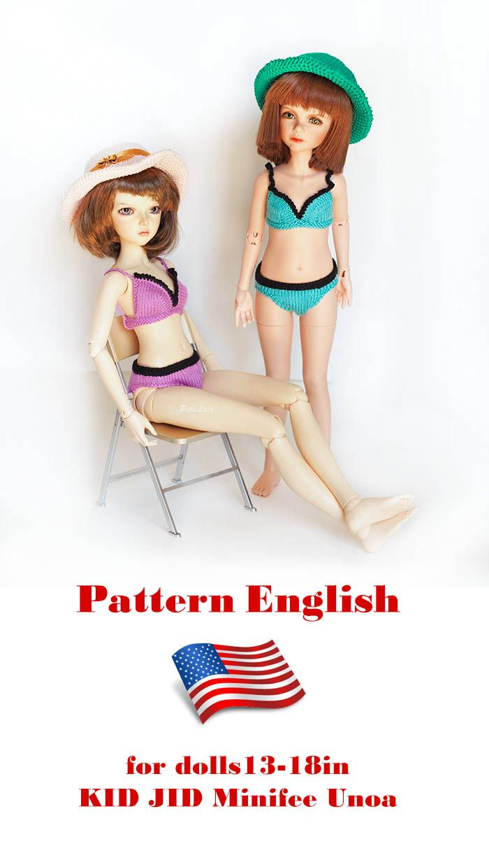 #Knitting #bikini #doll #pattern, #Undergarments for 17in doll, Knitting Pattern 13inch #BJD #doll #clothes, pattern #outfit for #slim #MSD