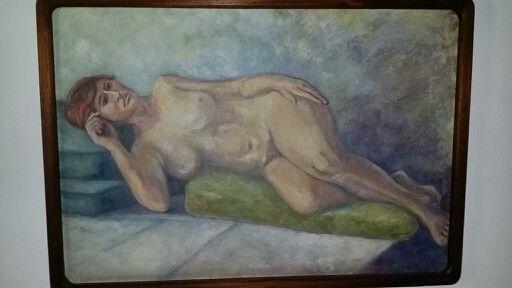 Mujer desnuda sobre cojines - Oleo
