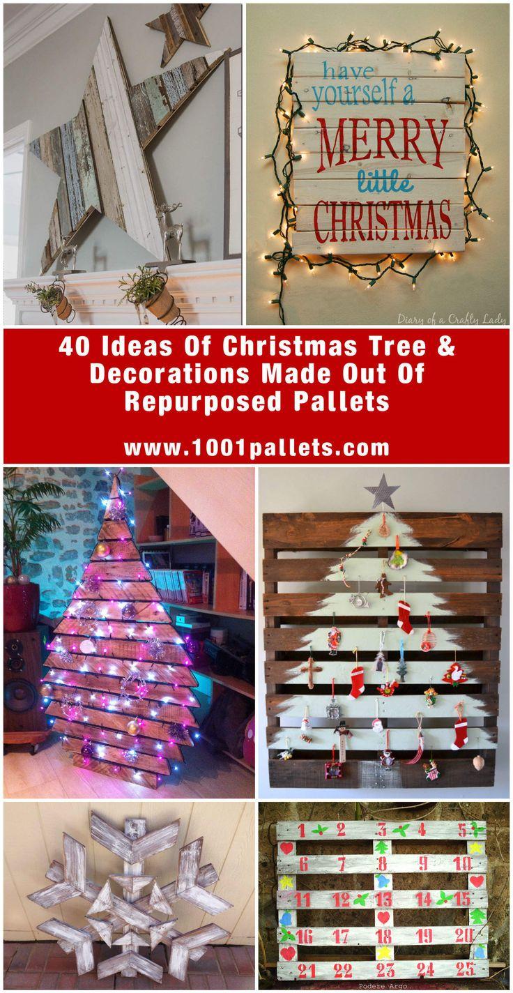 65 Pallet Christmas Trees u0026 Holiday Decorations