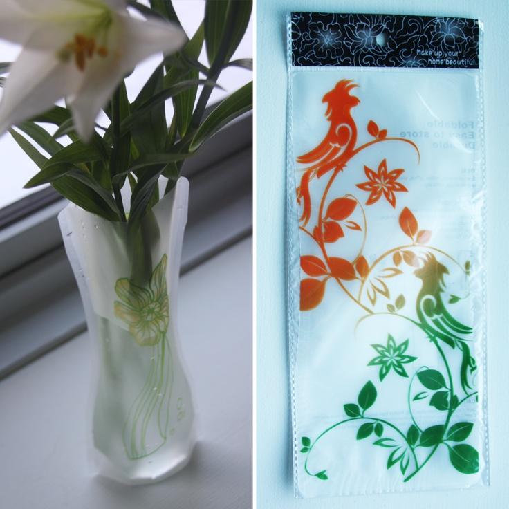 Foldbar vase – Grøn/orange grene med fugle, 20,-