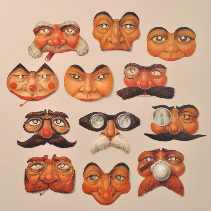 A set of 12 attractive Edwardian reproduction mini masks. www.mamelok.com / facebook.com/MamelokPapercraft