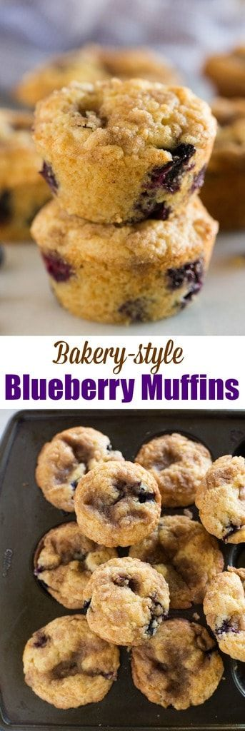 My favorite Blueberry Muffins recipe is light and tender with a cinnamon and sugar crumb topping. We love these for an easy Sunday morning brunch or snack. They freeze great, too. #blueberry #muffins #snack #easy via @betrfromscratch