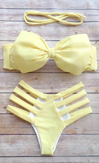 Solid 2 Piece Halter Bow Strappy Bikini Set