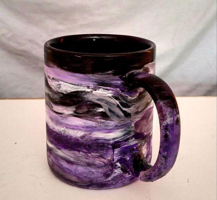 HandPainted Purple Coffee Mug/Purple Black Ceramic Mug/Purple Tea Cup/Purple Mug #Handmade