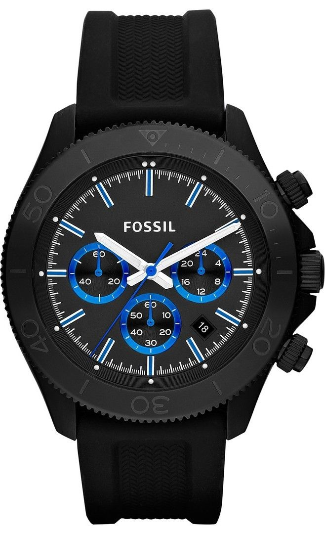 Fossil Watches, Men's Retro Traveler Chronograph Silicone Watch Black #CH2875