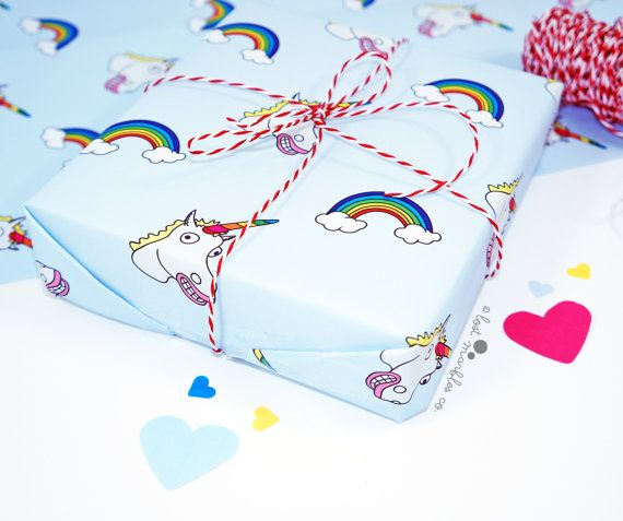 Unicorn Gift Wrap  Unicorn Wrapping Paper  Birthday Gift Wrap by Lost Marbles Co