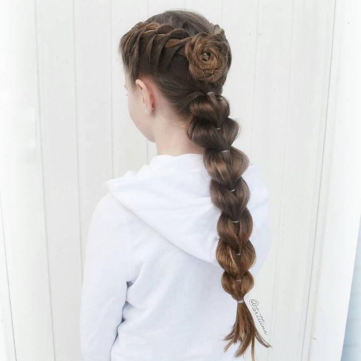 Braids & Hair by @terttiina Instagram: Four strand braids into a braided flower and pull through braid