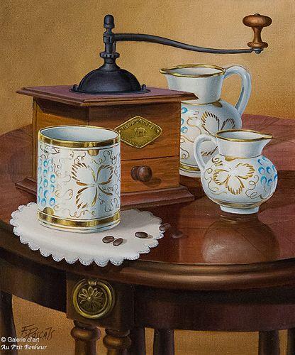 Françoise Pascals, 'Thé ou café?', 10'' x 12'' | Galerie d'art - Au P'tit Bonheur - Art Gallery