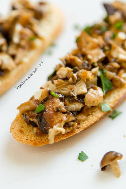 Mushroom Bruschetta made with oven roasted mushrooms is so easy to make and is sure to impress your guests at a party or eat it for a light lunch.
