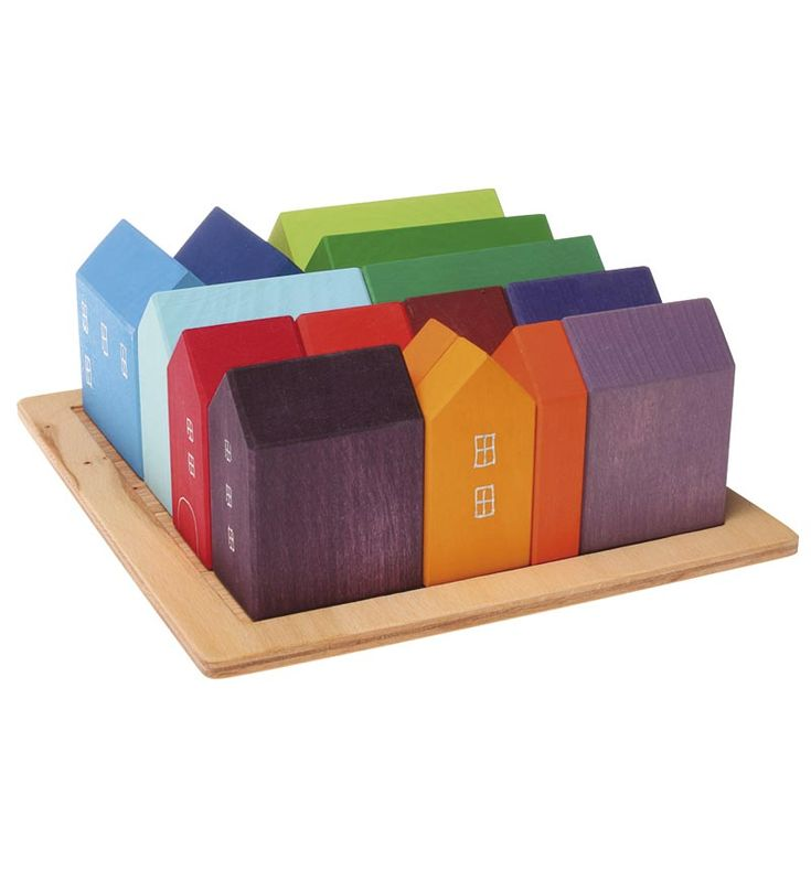 Small Wooden Blocks Village from Grimm's Toys - make for backyard sand play/ fairy village