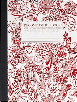 Red Garden Decomposition Book: Decomposition notebooks are beautiful and eco-friendly! Made in the US with 100% post-consumer waste paper and soy inks. 80 lined pages AND ONLY $6.95!