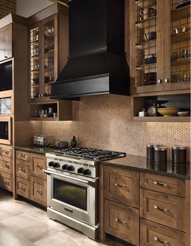 Is your style more rustic?  We absolutely love the new Rustic Alder cabinets from @KraftMaid Cabinetry. With both lighter and dark finishes and all the natural quirks of the wood it makes any kitchen a very provincial look and feel!