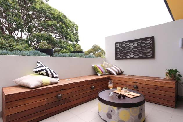 outdoor timber storage bench seat