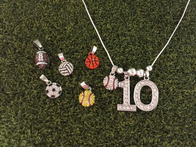 Personalized Jersey Number Necklace Baseball Softball Football Basketball Volleyball Soccer